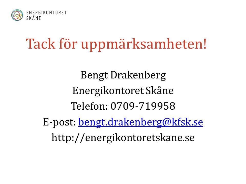 Tack för uppmärksamheten! Bengt Drakenberg Energikontoret Skåne Telefon: 0709-719958 E-post: bengt.drakenberg@kfsk.sebengt.drakenberg@kfsk.se http://e
