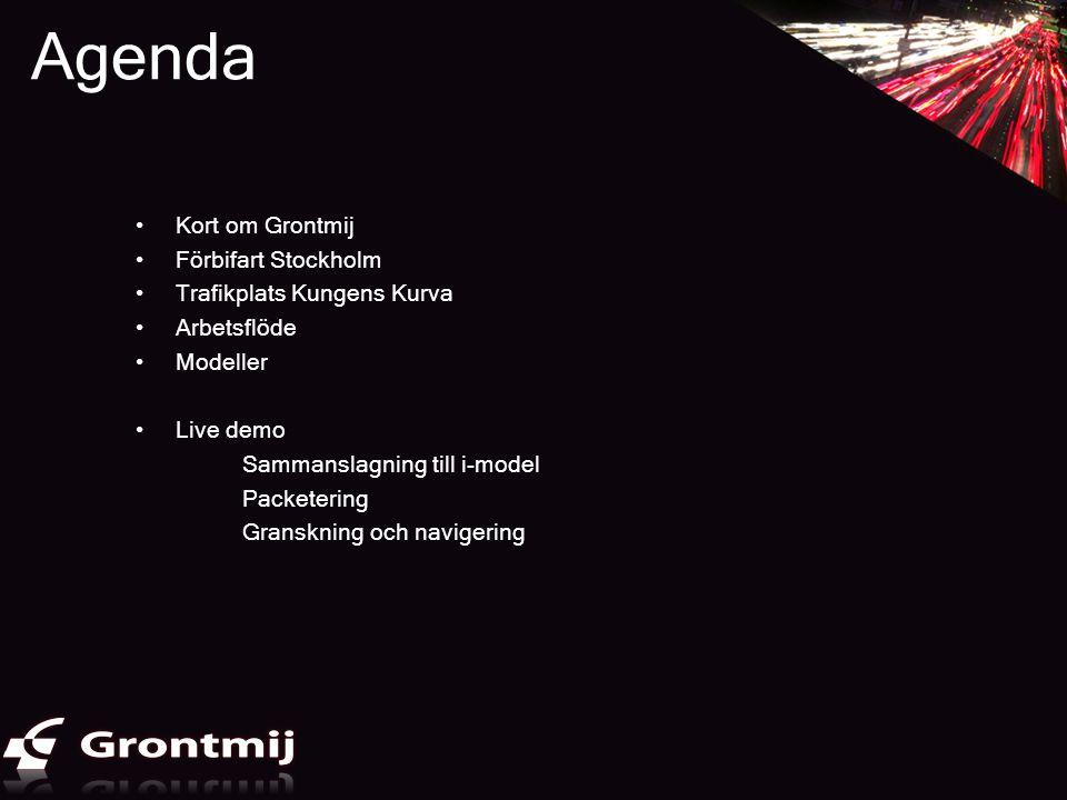 Agenda •Kort om Grontmij •Förbifart Stockholm •Trafikplats Kungens Kurva •Arbetsflöde •Modeller •Live demo Sammanslagning till i-model Packetering Gra