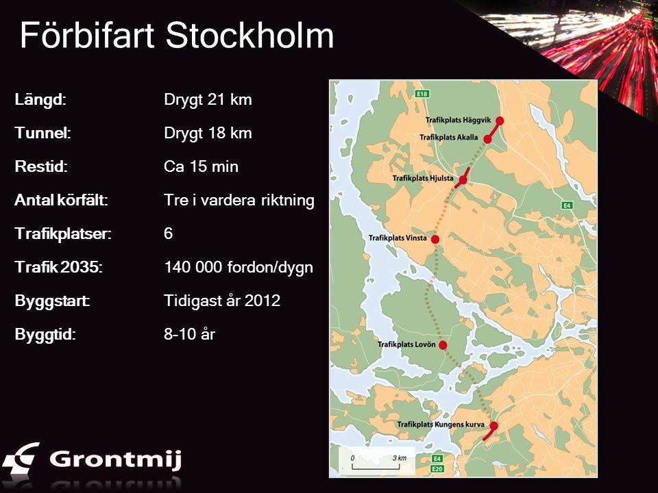 Förbifart Stockholm Längd: Drygt 21 km Tunnel: Drygt 18 km Restid: Ca 15 min Antal körfält: Tre i vardera riktning Trafikplatser: 6 Trafik 2035:140 00