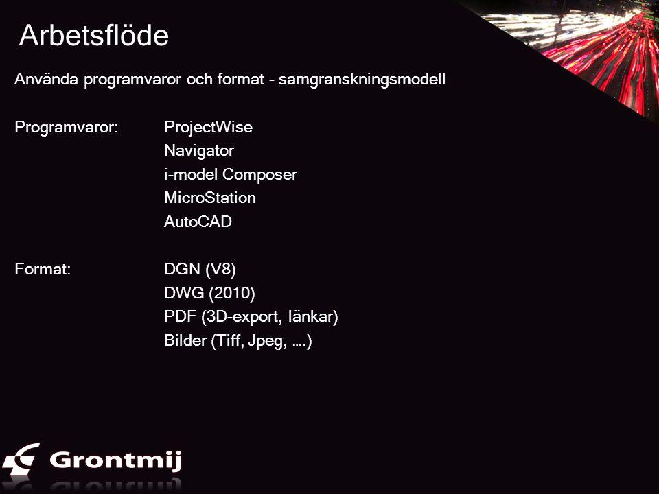 Arbetsflöde Använda programvaror och format - samgranskningsmodell Programvaror: ProjectWise Navigator i-model Composer MicroStation AutoCAD Format:DG