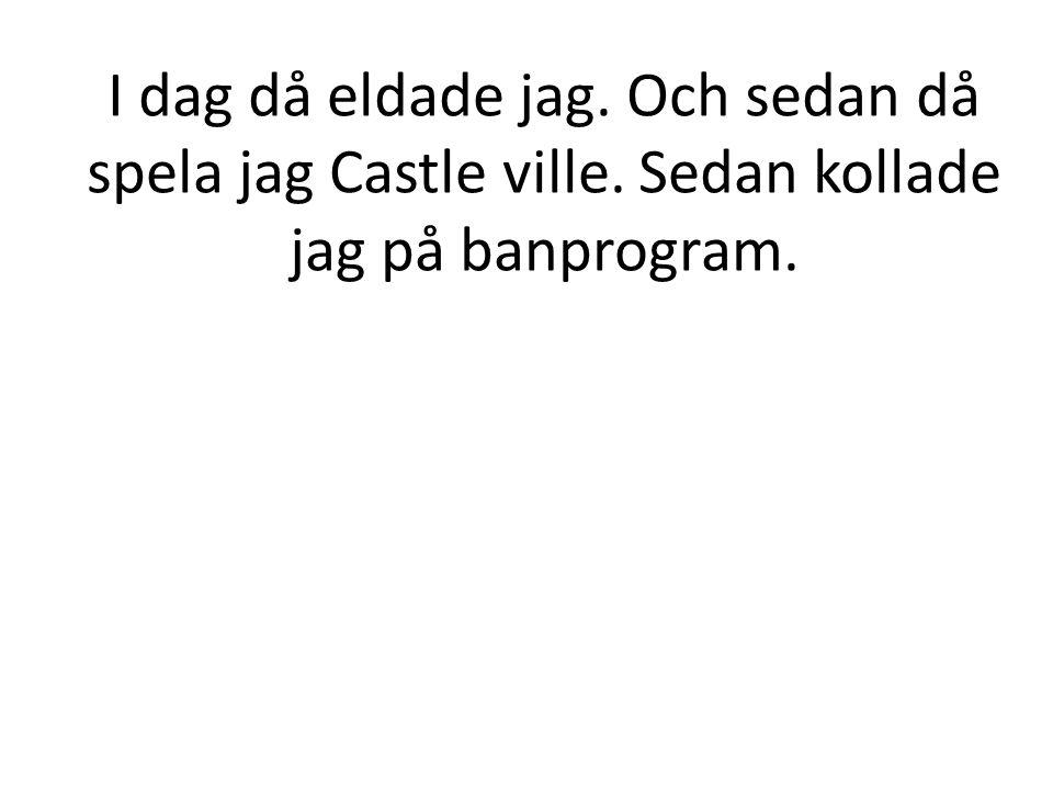 I dag då eldade jag. Och sedan då spela jag Castle ville. Sedan kollade jag på banprogram.
