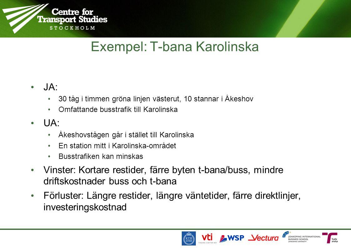 Exempel: T-bana Karolinska • JA: • 30 tåg i timmen gröna linjen västerut, 10 stannar i Åkeshov • Omfattande busstrafik till Karolinska • UA: • Åkeshovstågen går i stället till Karolinska • En station mitt i Karolinska-området • Busstrafiken kan minskas • Vinster: Kortare restider, färre byten t-bana/buss, mindre driftskostnader buss och t-bana • Förluster: Längre restider, längre väntetider, färre direktlinjer, investeringskostnad