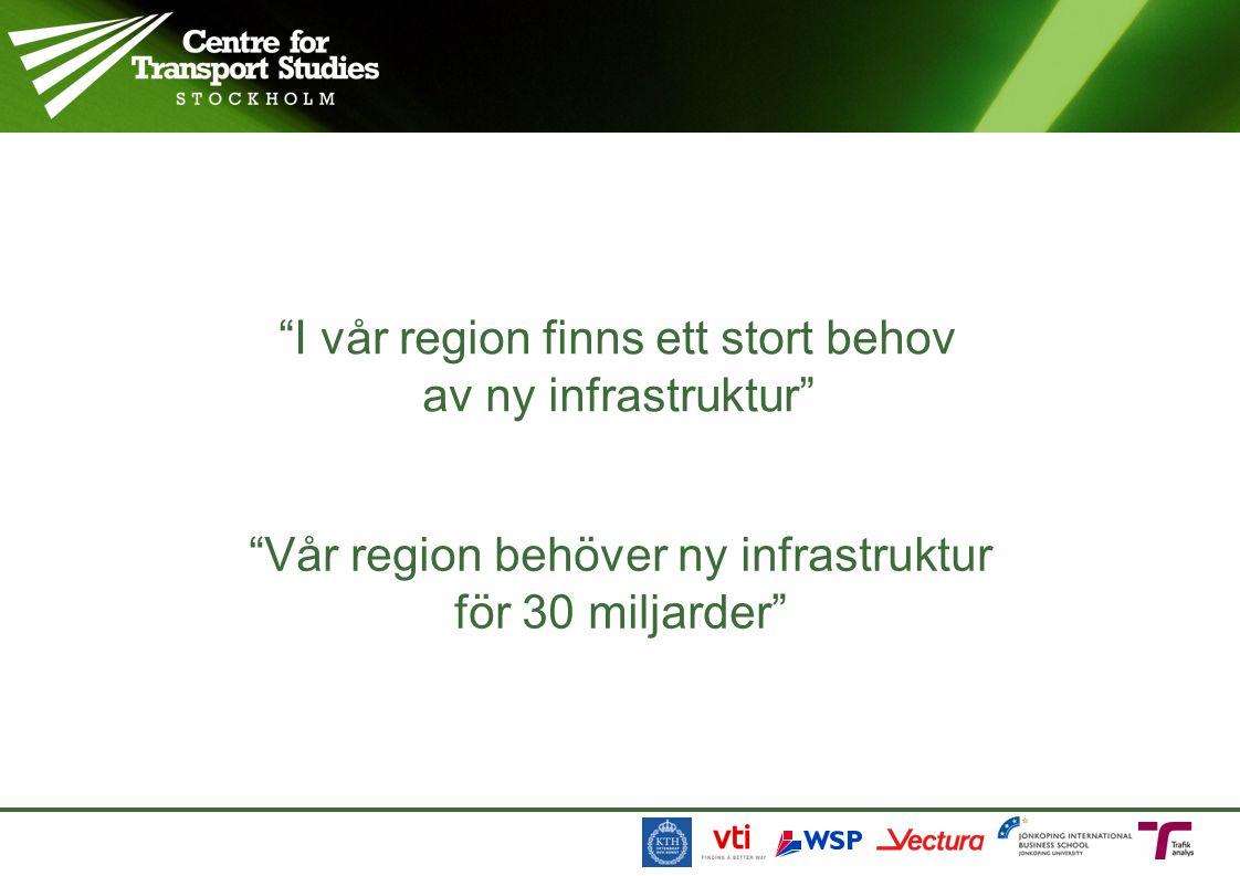 I vår region finns ett stort behov av ny infrastruktur Vår region behöver ny infrastruktur för 30 miljarder