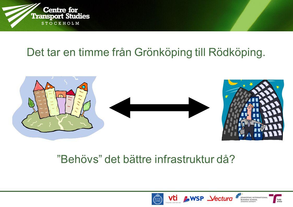 Det tar en timme från Grönköping till Rödköping. Behövs det bättre infrastruktur då?