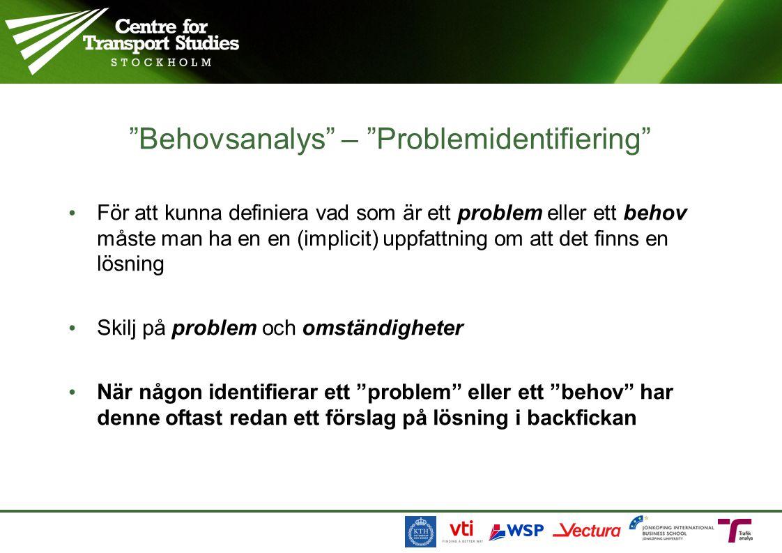 Behovsanalys – Problemidentifiering • För att kunna definiera vad som är ett problem eller ett behov måste man ha en en (implicit) uppfattning om att det finns en lösning • Skilj på problem och omständigheter • När någon identifierar ett problem eller ett behov har denne oftast redan ett förslag på lösning i backfickan
