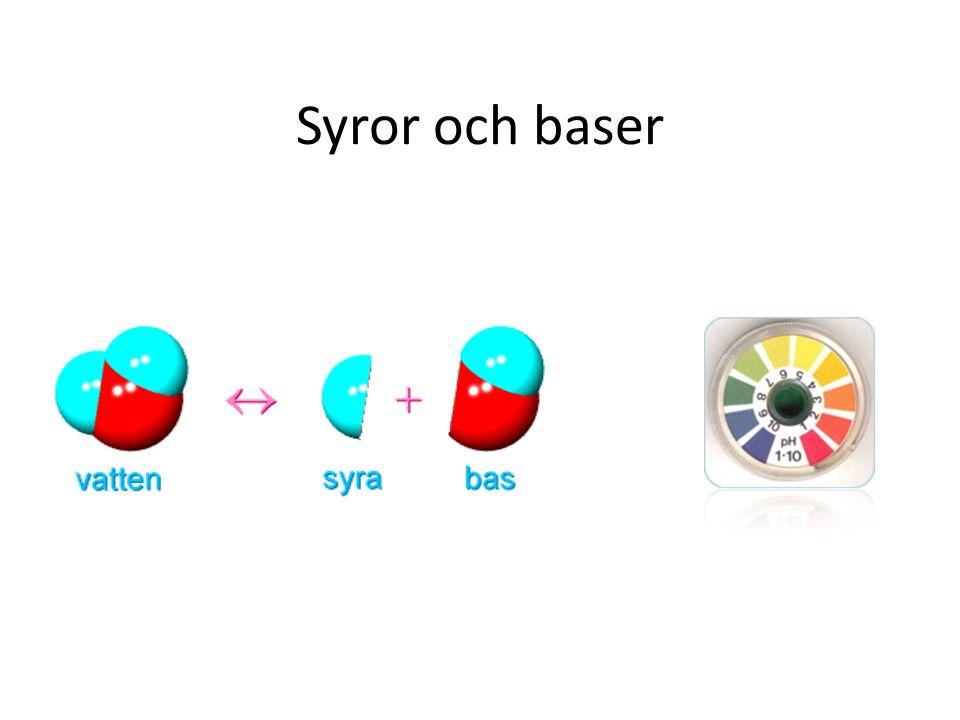 Syror • Alla syror innehåller väte • En syra är ämne som lämnar eller kan lämna ifrån sig en vätejon (H + ).