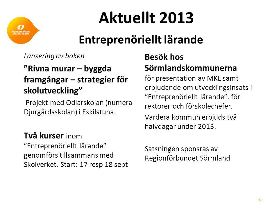 Aktuellt 2013 Entreprenöriellt lärande Lansering av boken Rivna murar – byggda framgångar – strategier för skolutveckling Projekt med Odlarskolan (numera Djurgårdsskolan) i Eskilstuna.