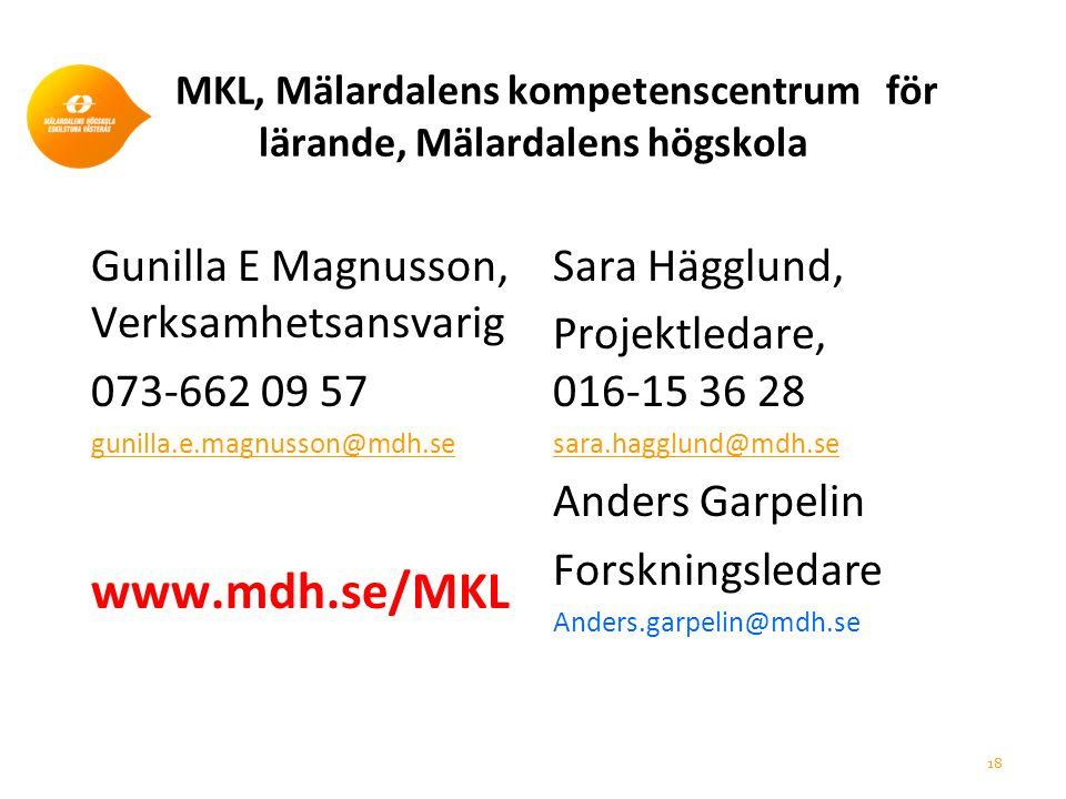 MKL, Mälardalens kompetenscentrum för lärande, Mälardalens högskola Gunilla E Magnusson, Verksamhetsansvarig 073-662 09 57 gunilla.e.magnusson@mdh.se www.mdh.se/MKL Sara Hägglund, Projektledare, 016-15 36 28 sara.hagglund@mdh.se Anders Garpelin Forskningsledare Anders.garpelin@mdh.se 18
