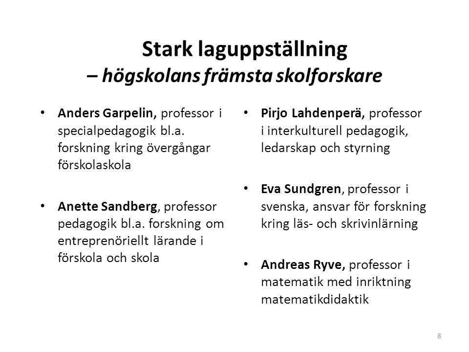 Stark laguppställning – högskolans främsta skolforskare • Anders Garpelin, professor i specialpedagogik bl.a.