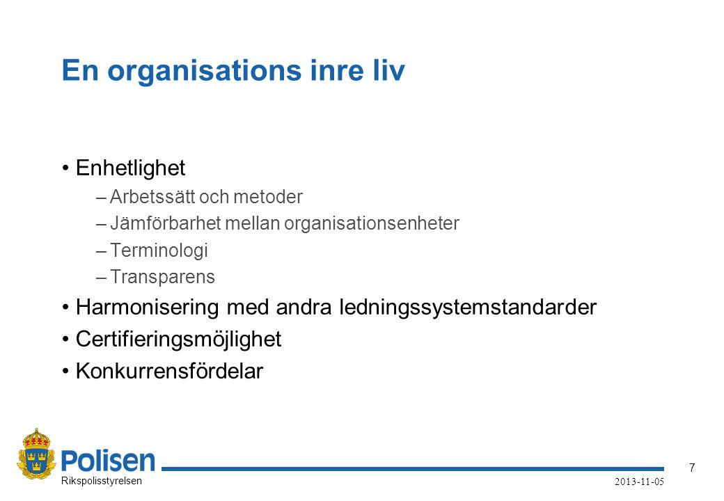 7 Rikspolisstyrelsen 2013-11-05 En organisations inre liv •Enhetlighet –Arbetssätt och metoder –Jämförbarhet mellan organisationsenheter –Terminologi