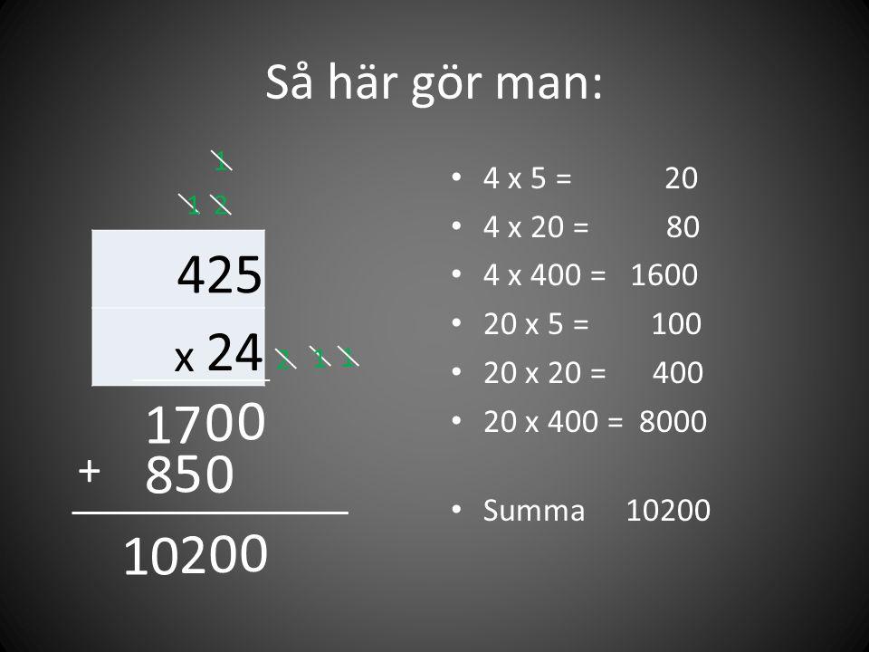 Så här gör man: 425 x 24 • 4 x 5 = 20 • 4 x 20 = 80 • 4 x 400 = 1600 • 20 x 5 = 100 • 20 x 20 = 400 • 20 x 400 = 8000 • Summa 10200 0 2 2 17 0 1 1 0 1