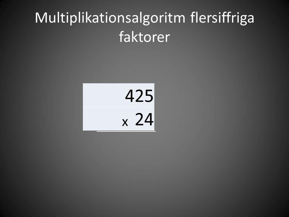 Multiplikationsalgoritm flersiffriga faktorer 425 x 24