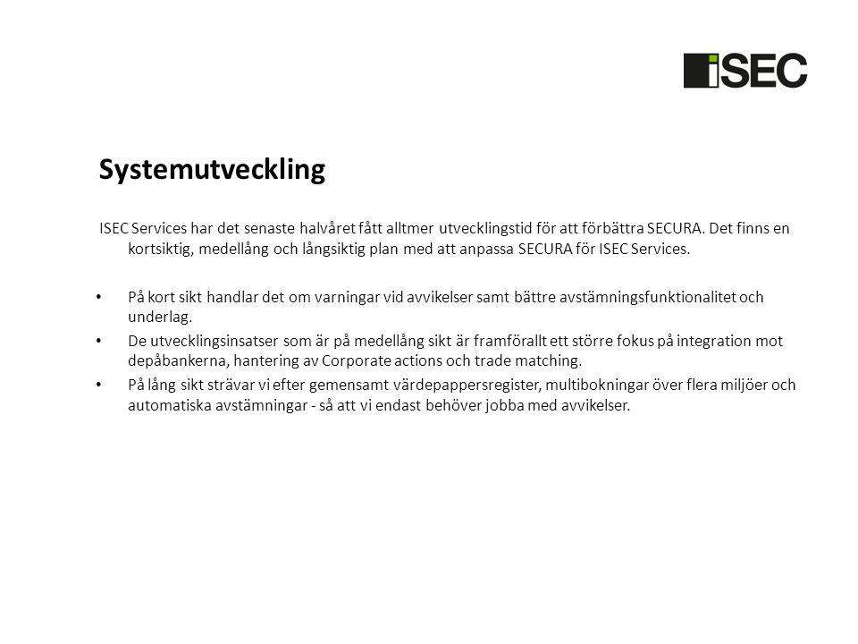 Systemutveckling ISEC Services har det senaste halvåret fått alltmer utvecklingstid för att förbättra SECURA. Det finns en kortsiktig, medellång och l