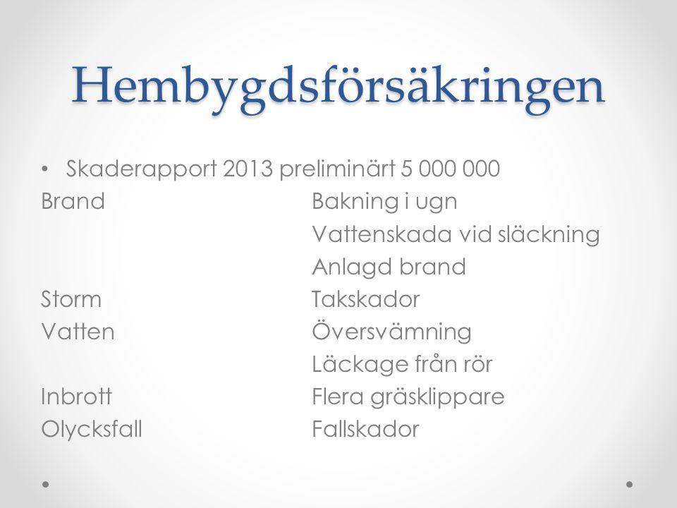 Hembygdsförsäkringen • Skaderapport 2013 preliminärt 5 000 000 Brand Bakning i ugn Vattenskada vid släckning Anlagd brand StormTakskador VattenÖversvä