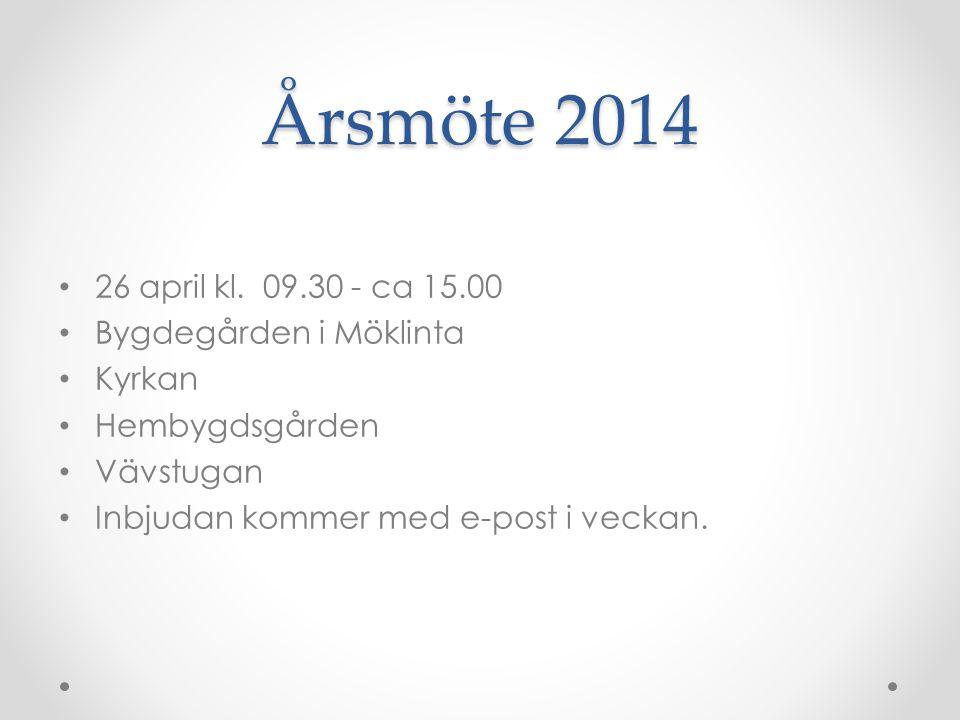 Årsmöte 2014 • 26 april kl. 09.30 - ca 15.00 • Bygdegården i Möklinta • Kyrkan • Hembygdsgården • Vävstugan • Inbjudan kommer med e-post i veckan.