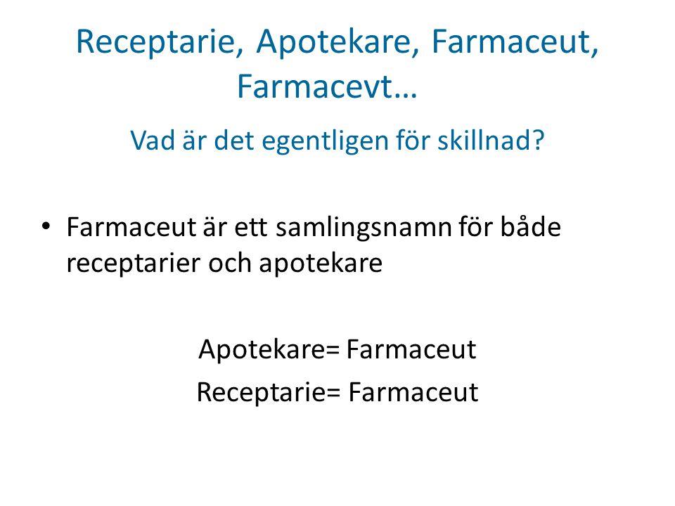 Receptarie, Apotekare, Farmaceut, Farmacevt… Vad är det egentligen för skillnad? • Farmaceut är ett samlingsnamn för både receptarier och apotekare Ap