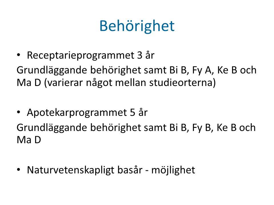 Behörighet • Receptarieprogrammet 3 år Grundläggande behörighet samt Bi B, Fy A, Ke B och Ma D (varierar något mellan studieorterna) • Apotekarprogrammet 5 år Grundläggande behörighet samt Bi B, Fy B, Ke B och Ma D • Naturvetenskapligt basår - möjlighet
