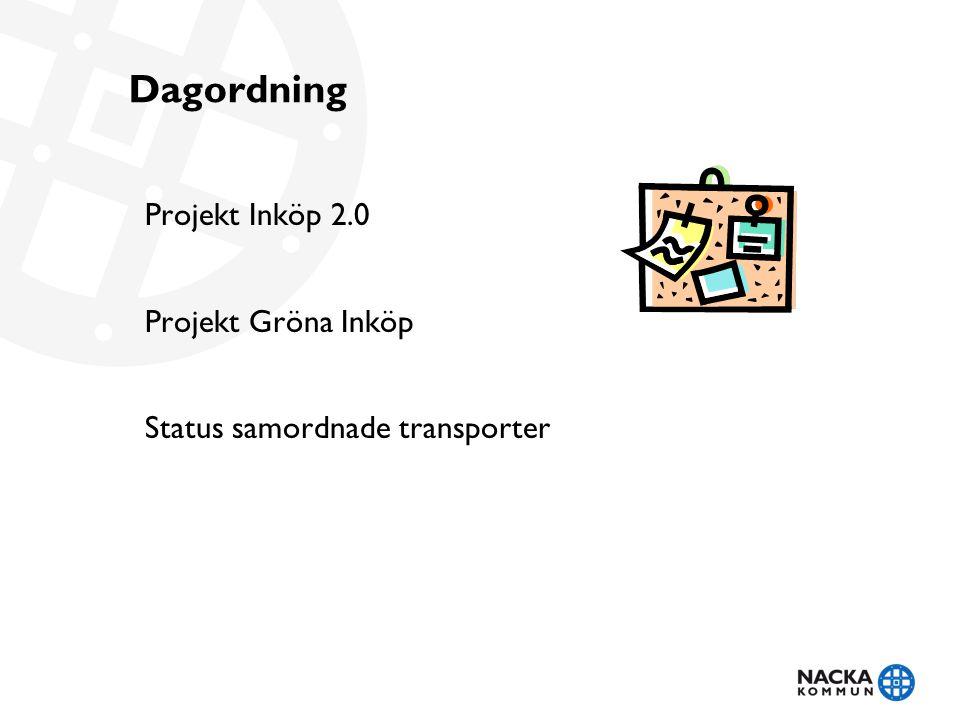Dagordning Projekt Inköp 2.0 Projekt Gröna Inköp Status samordnade transporter