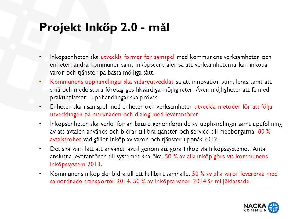 Projekt Inköp 2.0 - mål • Inköpsenheten ska utveckla former för samspel med kommunens verksamheter och enheter, andra kommuner samt inköpscentraler så att verksamheterna kan inköpa varor och tjänster på bästa möjliga sätt.