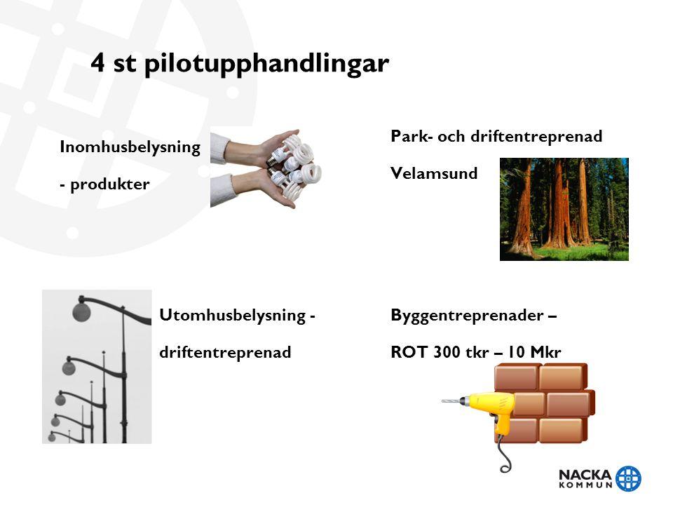 4 st pilotupphandlingar Inomhusbelysning - produkter Utomhusbelysning - driftentreprenad Park- och driftentreprenad Velamsund Byggentreprenader – ROT 300 tkr – 10 Mkr