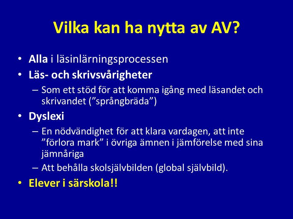 Alternativt stöd för elever med läs- och skrivsvårigheter i grundskolan och gymnasiet; ett möjligt åtgärdsgenombrott • Wallenbergsstiftelsen • Deltagande forskare – Idor Svensson leg.