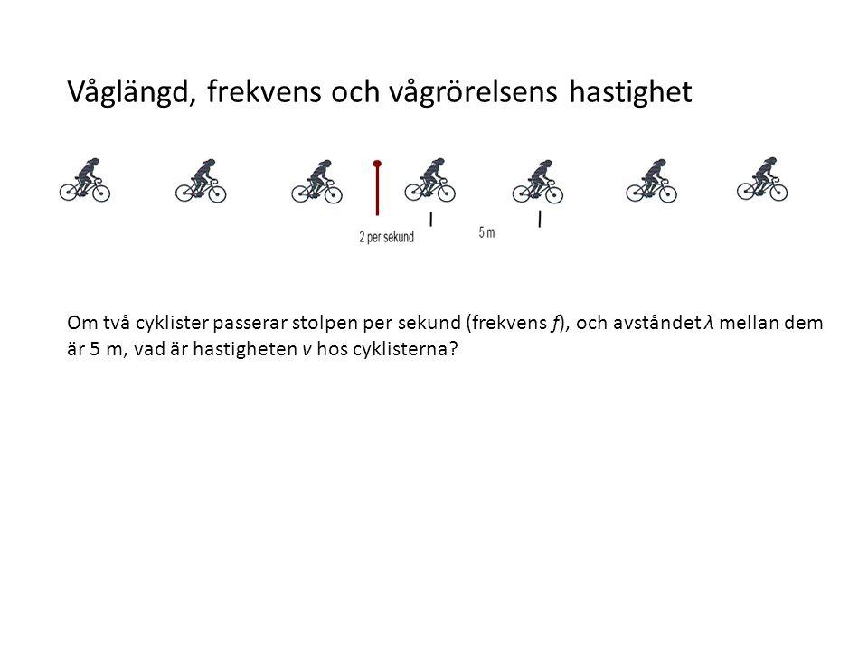 Hastigheten = 5 m/cyklist * 2 cyklister/s = 10 m/s v = λ f Samma formel gäller för vågrörelse, om vi t.ex.