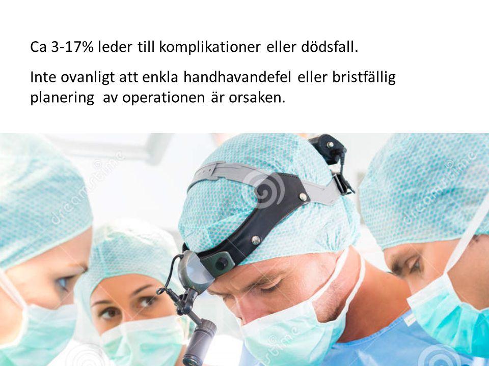Inte ovanligt att enkla handhavandefel eller bristfällig planering av operationen är orsaken. Ca 3-17% leder till komplikationer eller dödsfall.