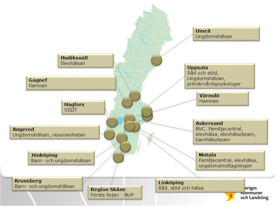 Umeå Ungdomshälsan Umeå Ungdomshälsan Värmdö Hamnen Värmdö Hamnen Jönköping Barn- och ungdomshälsan Jönköping Barn- och ungdomshälsan Hagfors VISIT Ha