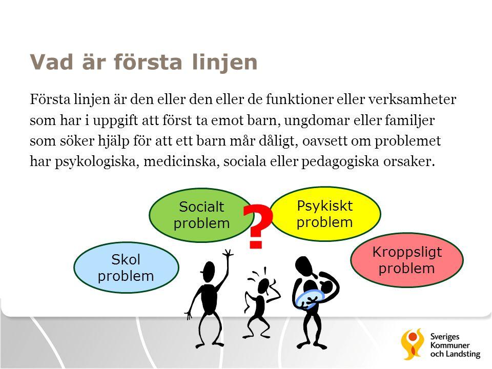 Vad är första linjen Första linjen är den eller den eller de funktioner eller verksamheter som har i uppgift att först ta emot barn, ungdomar eller fa