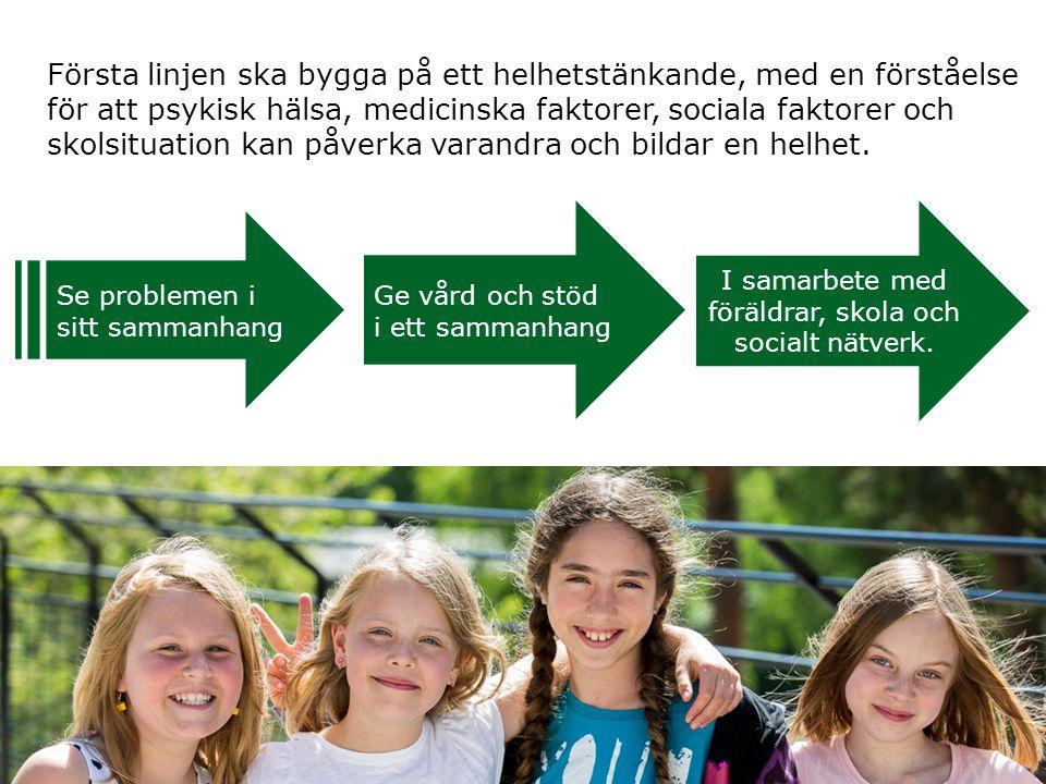 Se problemen i sitt sammanhang Ge vård och stöd i ett sammanhang I samarbete med föräldrar, skola och socialt nätverk. Första linjen ska bygga på ett
