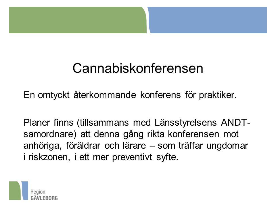 Cannabiskonferensen En omtyckt återkommande konferens för praktiker. Planer finns (tillsammans med Länsstyrelsens ANDT- samordnare) att denna gång rik