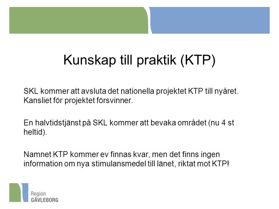 Kunskap till praktik (KTP) SKL kommer att avsluta det nationella projektet KTP till nyåret. Kansliet för projektet försvinner. En halvtidstjänst på SK