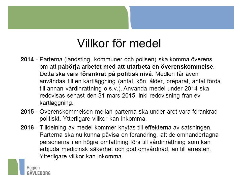 Villkor för medel 2014 - Parterna (landsting, kommuner och polisen) ska komma överens om att påbörja arbetet med att utarbeta en överenskommelse. Dett