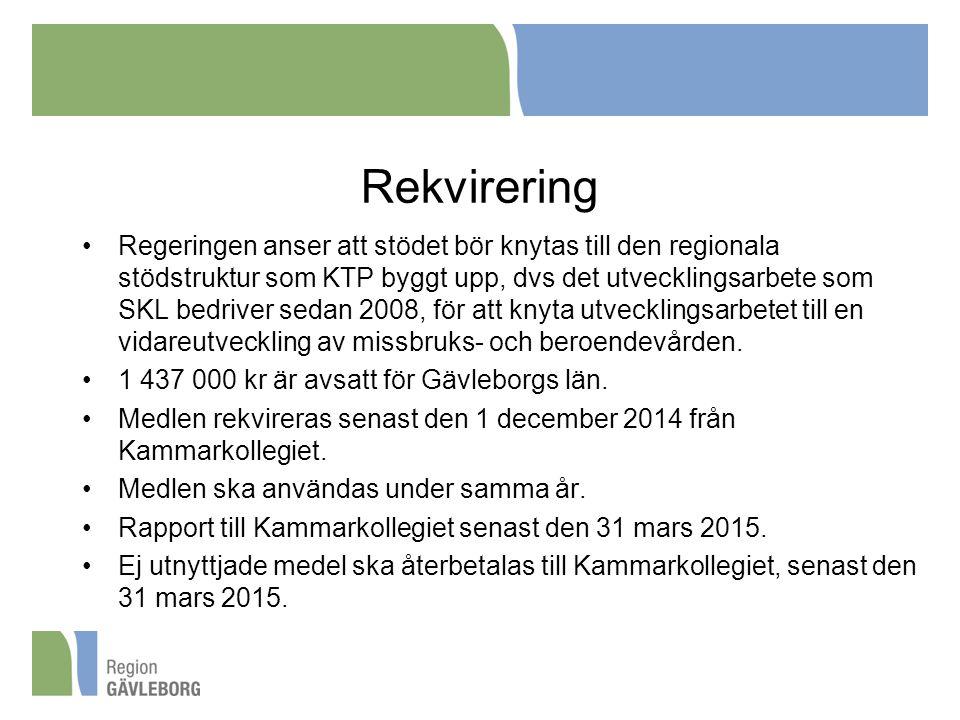 Rekvirering •Regeringen anser att stödet bör knytas till den regionala stödstruktur som KTP byggt upp, dvs det utvecklingsarbete som SKL bedriver seda