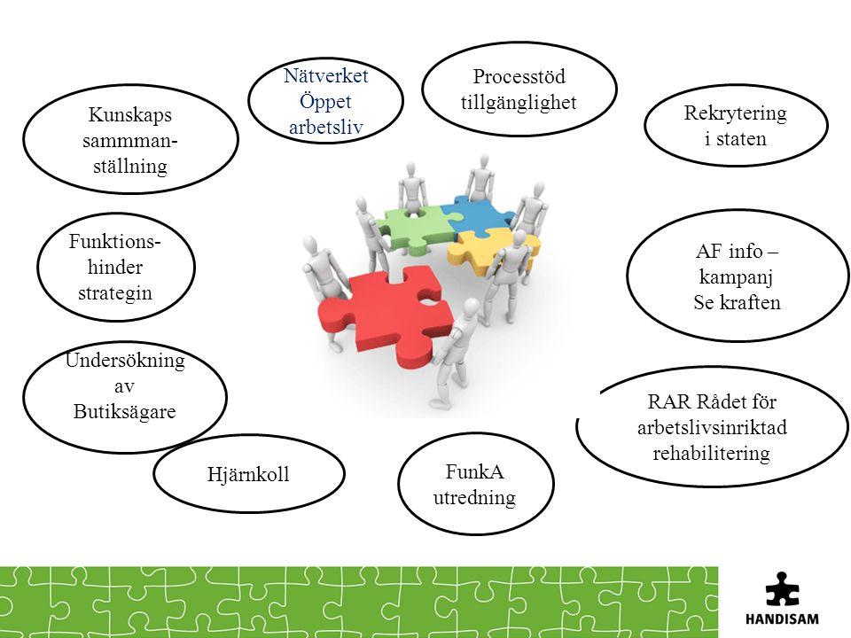 Nätverket Öppet arbetsliv Processtöd tillgänglighet Kunskaps sammman- ställning Rekrytering i staten AF info – kampanj Se kraften RAR Rådet för arbetslivsinriktad rehabilitering FunkA utredning Hjärnkoll Funktions- hinder strategin Undersökning av Butiksägare