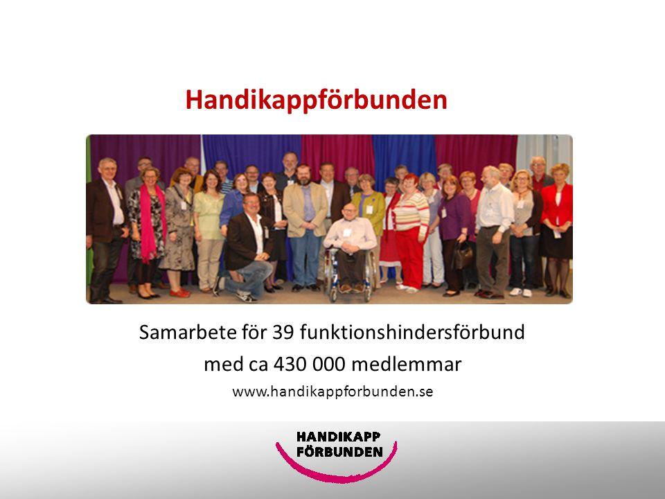 Handikappförbunden Samarbete för 39 funktionshindersförbund med ca 430 000 medlemmar www.handikappforbunden.se