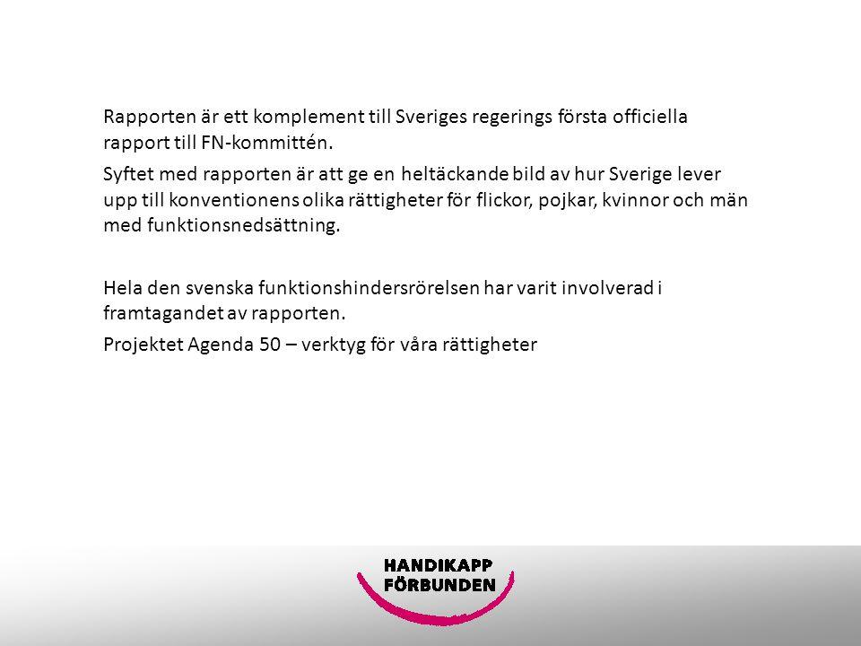 Rapporten är ett komplement till Sveriges regerings första officiella rapport till FN-kommittén.