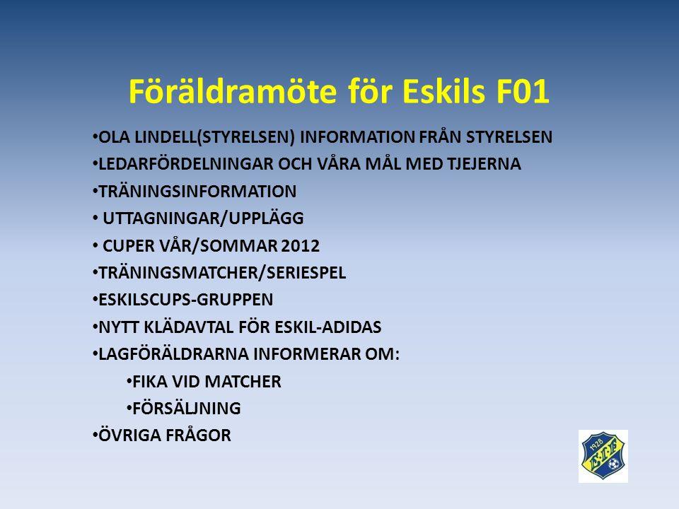 Föräldramöte för Eskils F01 • OLA LINDELL(STYRELSEN) INFORMATION FRÅN STYRELSEN • LEDARFÖRDELNINGAR OCH VÅRA MÅL MED TJEJERNA • TRÄNINGSINFORMATION • UTTAGNINGAR/UPPLÄGG • CUPER VÅR/SOMMAR 2012 • TRÄNINGSMATCHER/SERIESPEL • ESKILSCUPS-GRUPPEN • NYTT KLÄDAVTAL FÖR ESKIL-ADIDAS • LAGFÖRÄLDRARNA INFORMERAR OM: • FIKA VID MATCHER • FÖRSÄLJNING • ÖVRIGA FRÅGOR
