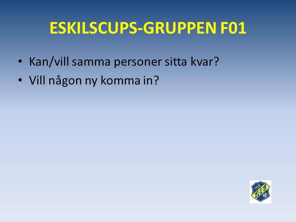 ESKILSCUPS-GRUPPEN F01 • Kan/vill samma personer sitta kvar? • Vill någon ny komma in?
