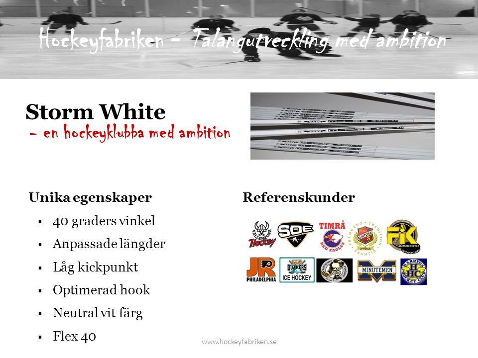 Storm White  40 graders vinkel  Anpassade längder  Låg kickpunkt  Optimerad hook  Neutral vit färg  Flex 40 - en hockeyklubba med ambition Unika egenskaper Referenskunder www.hockeyfabriken.se Hockeyfabriken - Talangutveckling med ambition