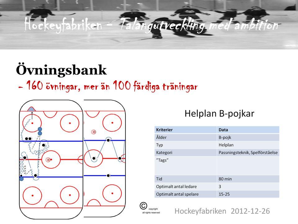 Övningsbank - 160 övningar, mer än 100 färdiga träningar Hockeyfabriken - Talangutveckling med ambition