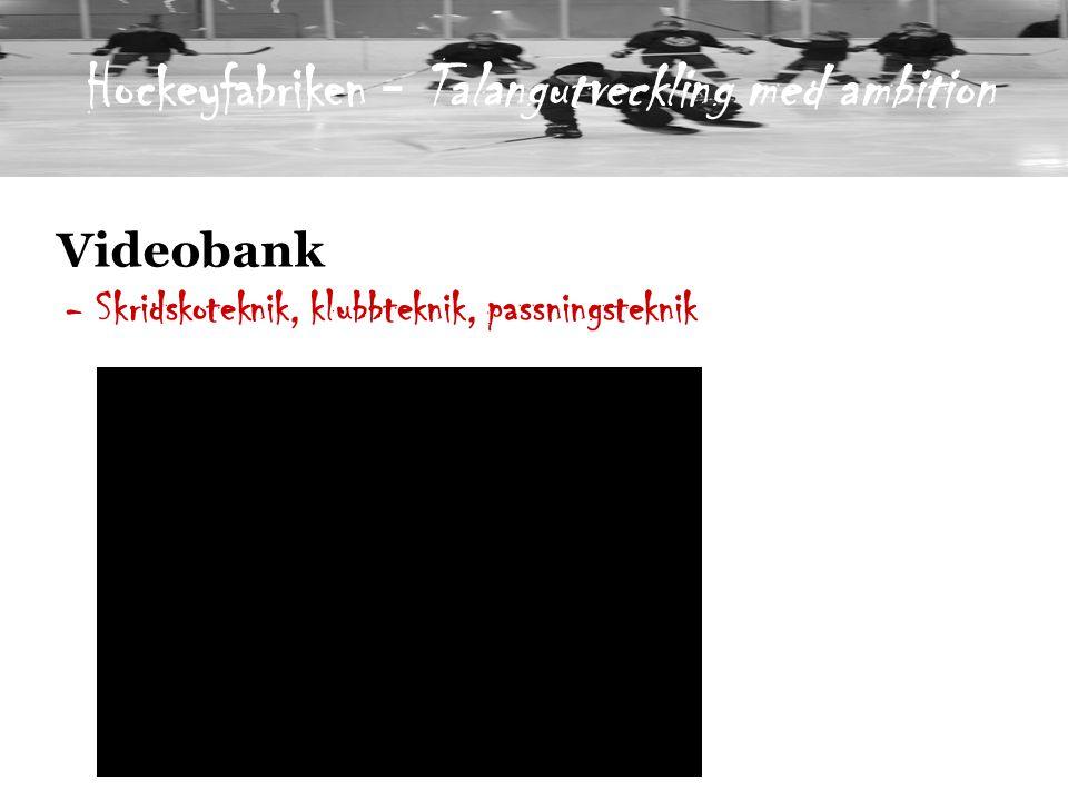 Videobank - Skridskoteknik, klubbteknik, passningsteknik Hockeyfabriken - Talangutveckling med ambition