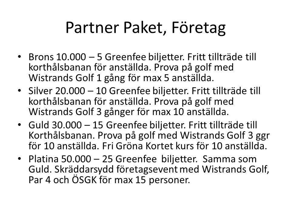 Partner Paket, Företag • Brons 10.000 – 5 Greenfee biljetter. Fritt tillträde till korthålsbanan för anställda. Prova på golf med Wistrands Golf 1 gån