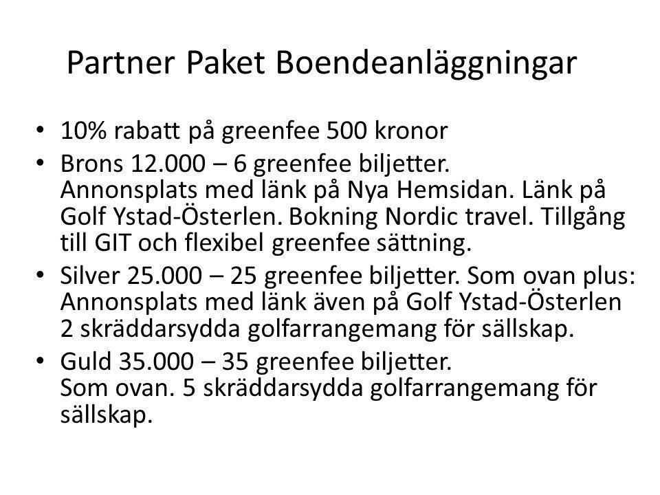 Partner Paket Boendeanläggningar • 10% rabatt på greenfee 500 kronor • Brons 12.000 – 6 greenfee biljetter. Annonsplats med länk på Nya Hemsidan. Länk