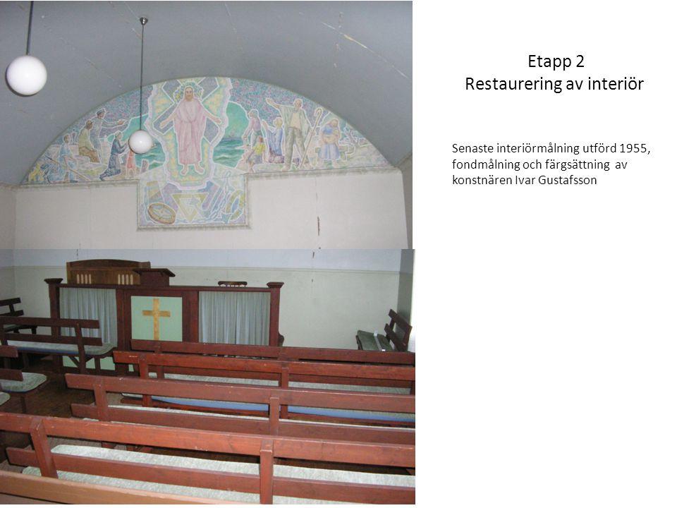 Etapp 2 Restaurering av interiör Senaste interiörmålning utförd 1955, fondmålning och färgsättning av konstnären Ivar Gustafsson