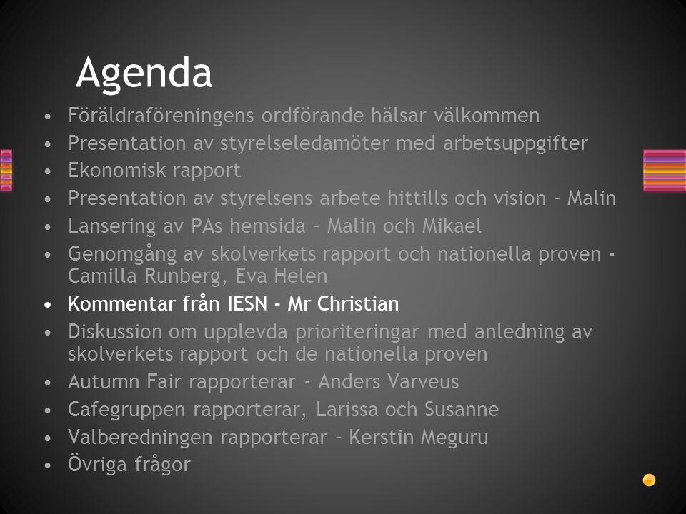 Agenda •Föräldraföreningens ordförande hälsar välkommen •Presentation av styrelseledamöter med arbetsuppgifter •Ekonomisk rapport •Presentation av sty