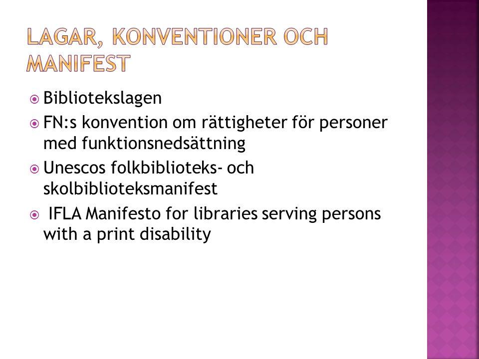  Bibliotekslagen  FN:s konvention om rättigheter för personer med funktionsnedsättning  Unescos folkbiblioteks- och skolbiblioteksmanifest  IFLA Manifesto for libraries serving persons with a print disability