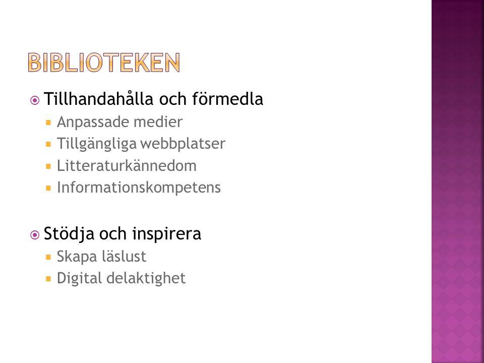  Tillhandahålla och förmedla  Anpassade medier  Tillgängliga webbplatser  Litteraturkännedom  Informationskompetens  Stödja och inspirera  Skapa läslust  Digital delaktighet