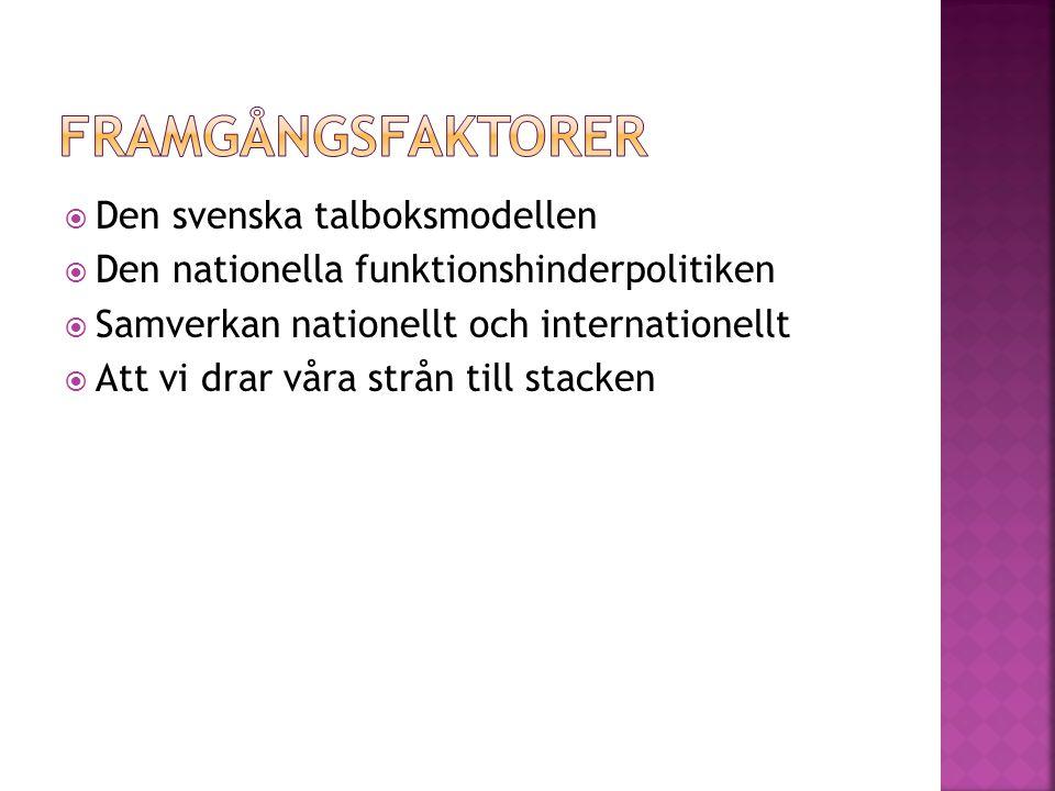  Den svenska talboksmodellen  Den nationella funktionshinderpolitiken  Samverkan nationellt och internationellt  Att vi drar våra strån till stacken