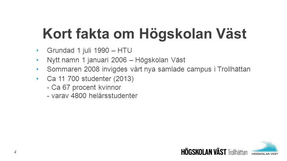 •Grundad 1 juli 1990 – HTU •Nytt namn 1 januari 2006 – Högskolan Väst •Sommaren 2008 invigdes vårt nya samlade campus i Trollhättan •Ca 11 700 student